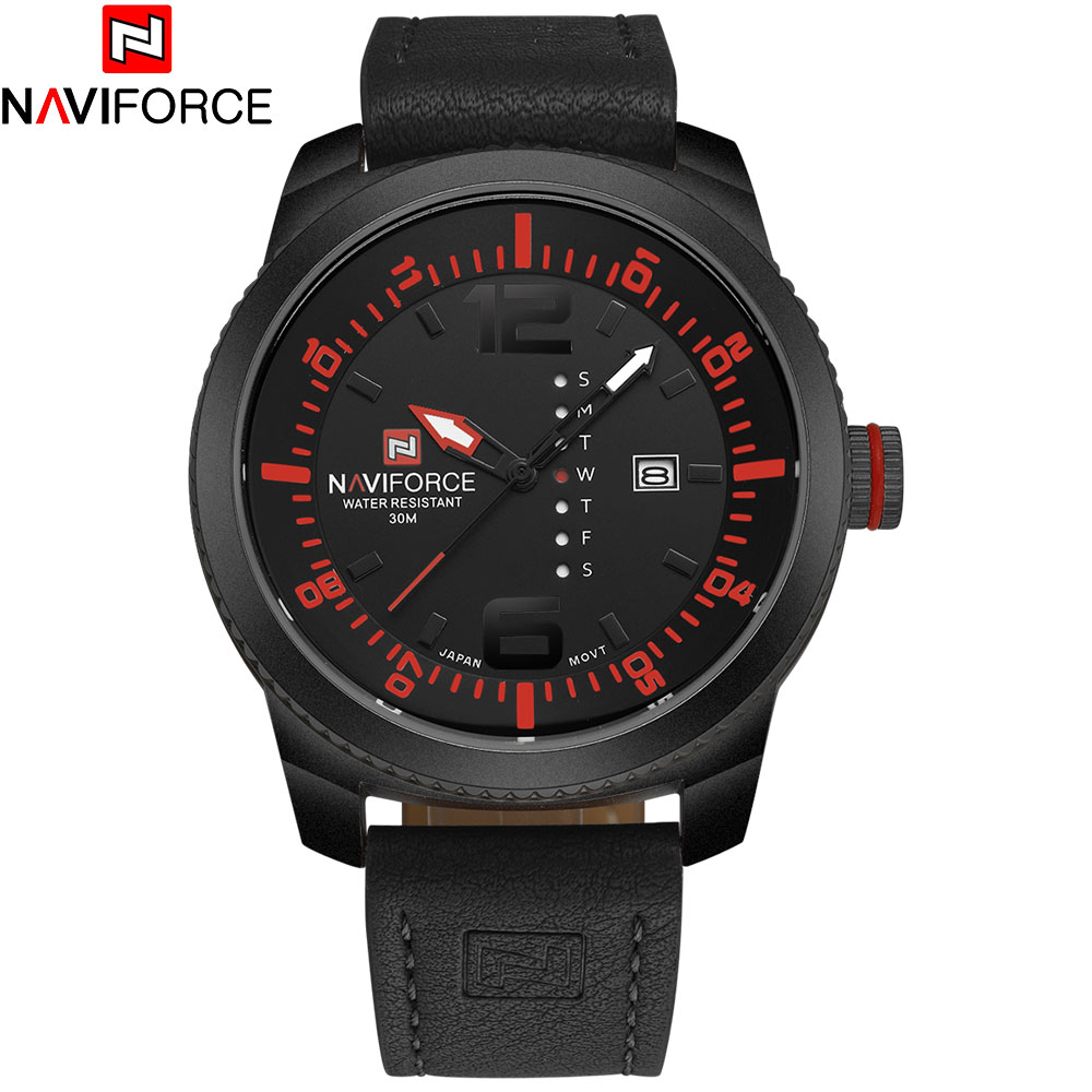 2016NAVIFORCE china brand watches men luxury military Sports watches 3ATM waterproof Japan Quartz black case leather band<br><br>Aliexpress