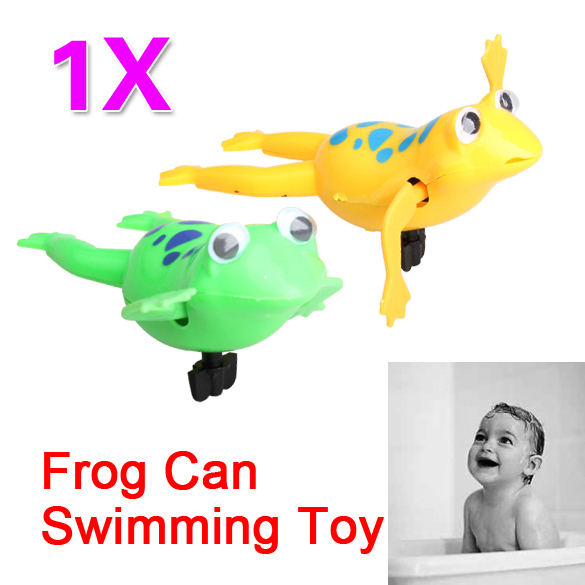 Funny Baby Kids Bath Toy Clockwork Wind Up Plastic Swimming Frog Battery Operated Pool Bath for Kids & Baby E5M1(China (Mainland))