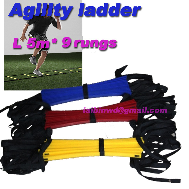 Top Quality 5M (16.5 feet) * 9 rungs long Soccer Training Speed Agility Ladder + Carry Bag Outdoor Fitness Equipment ladder(China (Mainland))