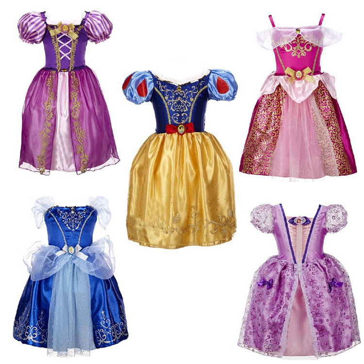 New Cinderella Girl Dress Children Snow White Princess sofia Dresses Rapunzel Kids Party Halloween Cosplay Costume Girls