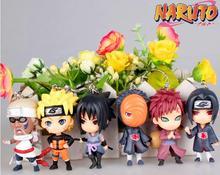 Japan Cartoon 6 PCS / Set Naruto Action Figure Doll Sasuke Gaara Shikamaru Kakashi Sakura Naruto Anime Toys Collection