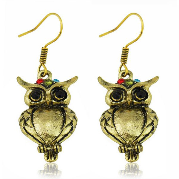 Wholesale Free Shipping 100 lot Promotion Discount Dangle Earring Antique Gold Crystal Animal Owl Earrings Jewellery Women<br><br>Aliexpress