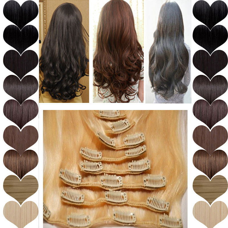 """8 Piece Clip in Real Hair Extensions Full Head Highlight Brown Blonde 17"""" Curly Sythetic Hair 28(China (Mainland))"""
