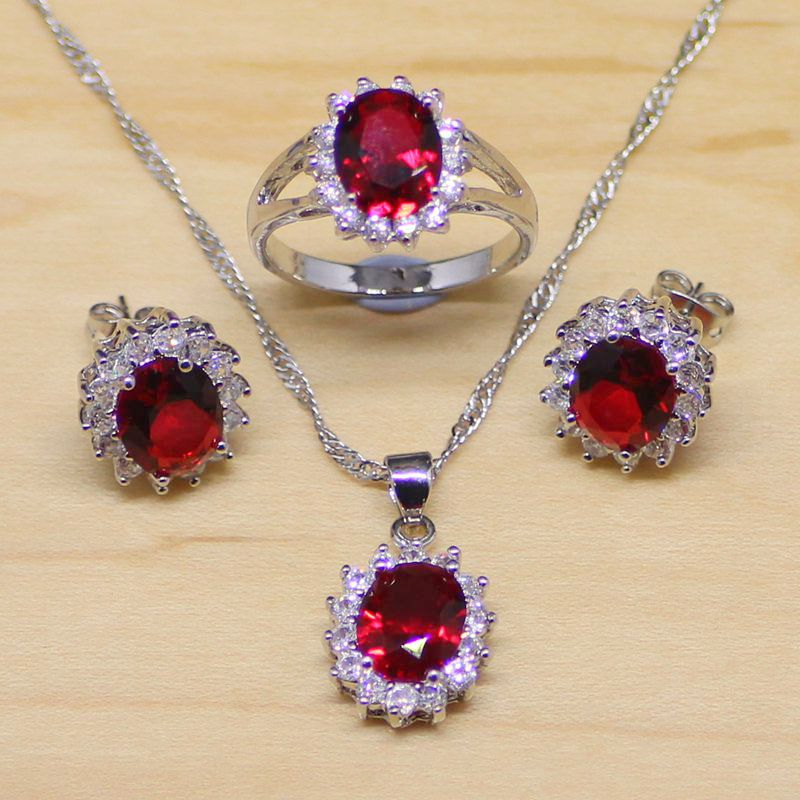 Red Garnet White Topaz 925 Sterling Silver Jewelry Sets For Women Wedding Earrings/Pendant/Necklace/Ring Free Gifts Box T098(China (Mainland))