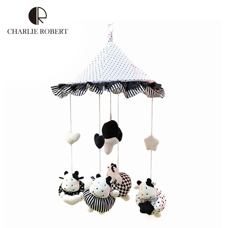Kawaii Calf Black Lace dot umbrella baby rattle baby toy plush stuffed newborn infant musical mobile rattles toys for kids HK620