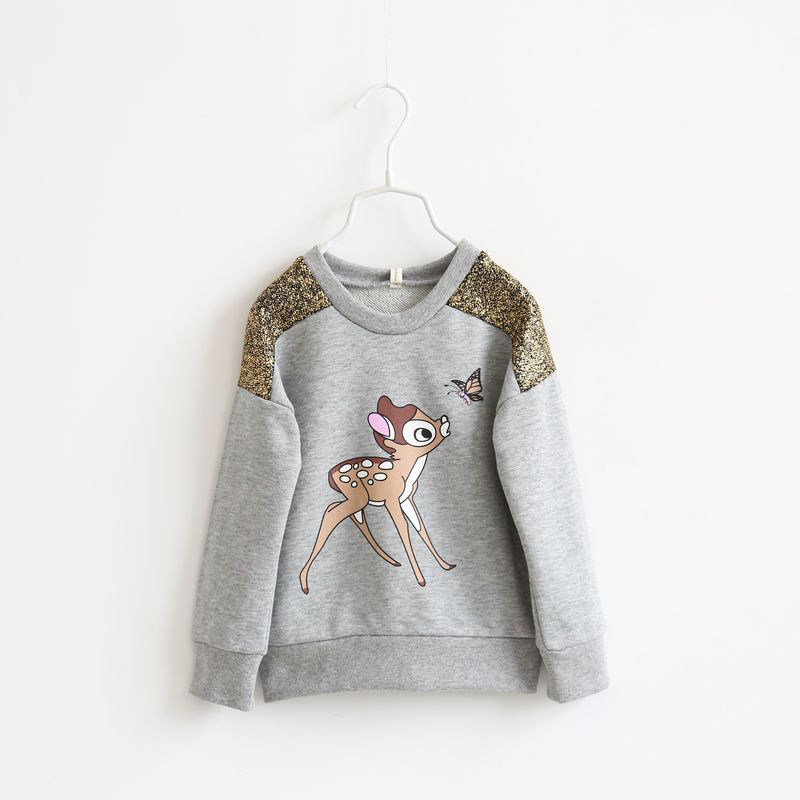 Free shipping spring and autumn channel deer printed child long-sleeve cotton hoodies baby girl dress<br><br>Aliexpress