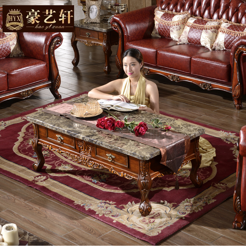 Marble And Carved Wood Accent Table: Continental Carved Wood Coffee Table Combination European
