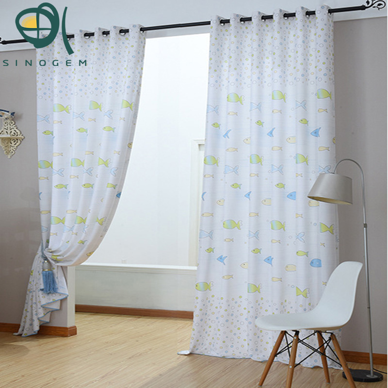 Popular small fish curtains for kids blue&pink blackout curtains for living room for windows at sales(China (Mainland))