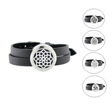 Buy 25mm stainless steel twist-off essential oil diffusing perfume locket bracelet locket leather band (free felt pads) for $6.00 in AliExpress store
