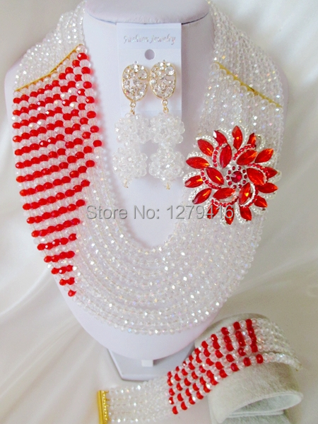 Fashion Nigerian African Wedding Beads Jewelry Set , Crystal Necklace Bracelet Earrings Set C1245<br><br>Aliexpress