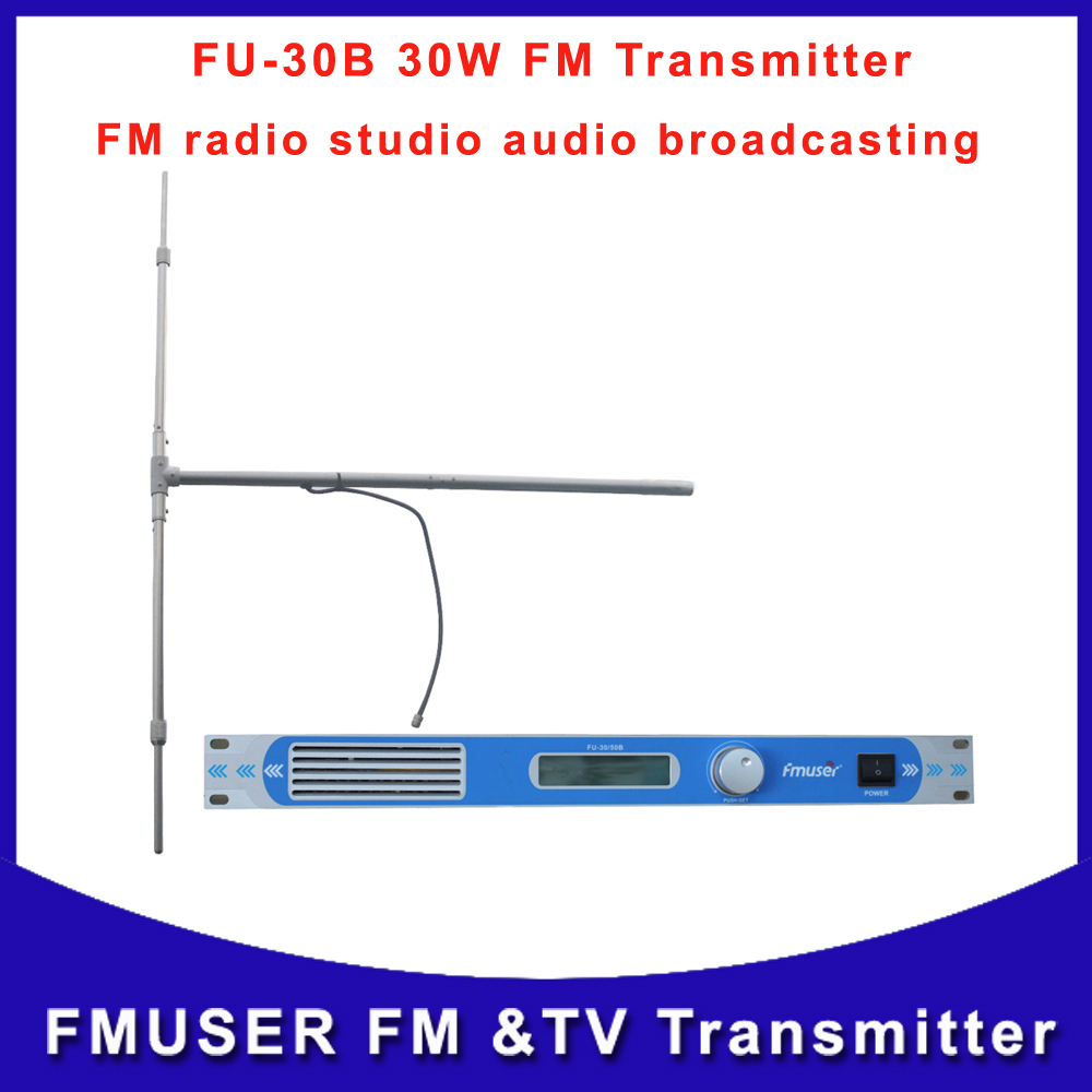Free shipping FU-30B 30W Professional FM broadcast Transmitter wireless radio with 1/2 wave dipole outdoor antenna(China (Mainland))