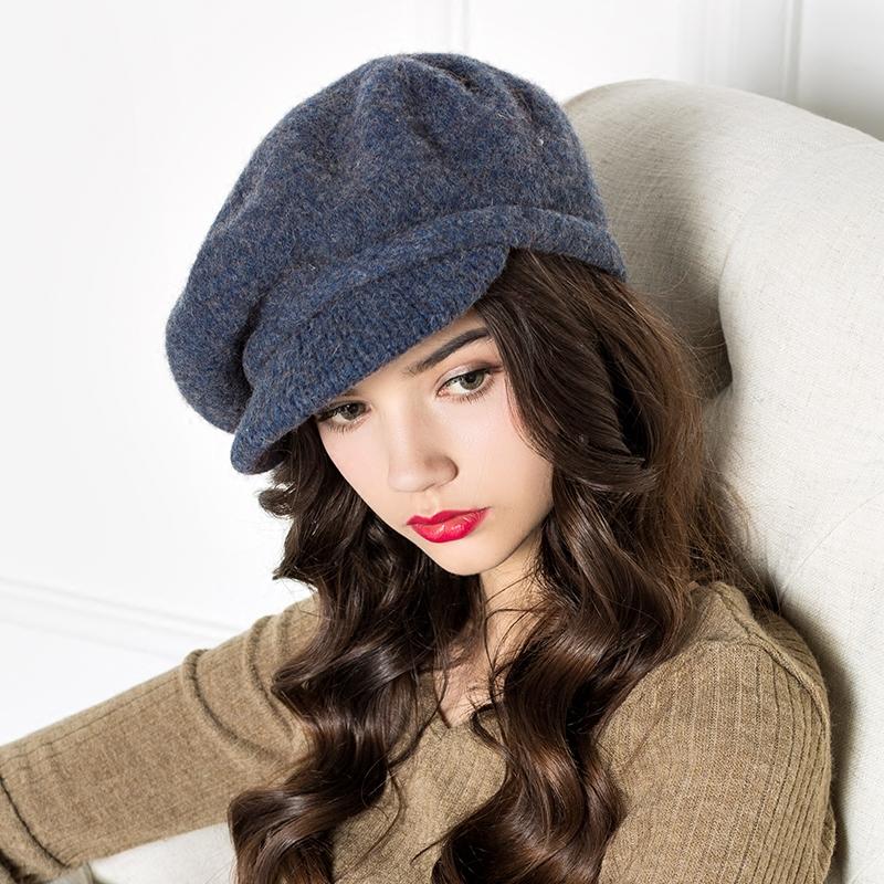 Full Sense of Velvet Full Cap Type Women Peaked Cap Newsboy Cap Octagonal Cap Wool Knit Autumn and Winter Hat D593
