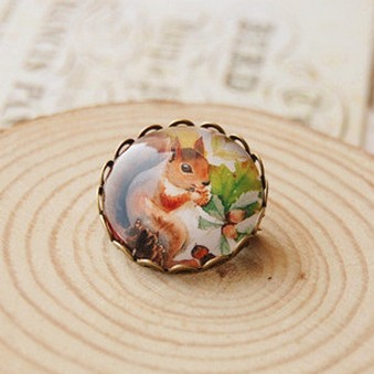 Min Order $15(Can Mix Item)Department of Forestry Acorn Squirrel imitation Time gemstone brooch pins clothing(China (Mainland))