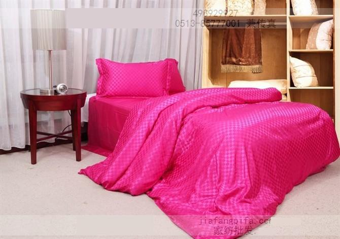 Hot Pink Silk Bedding Set Plaid Satin Sheets Super King