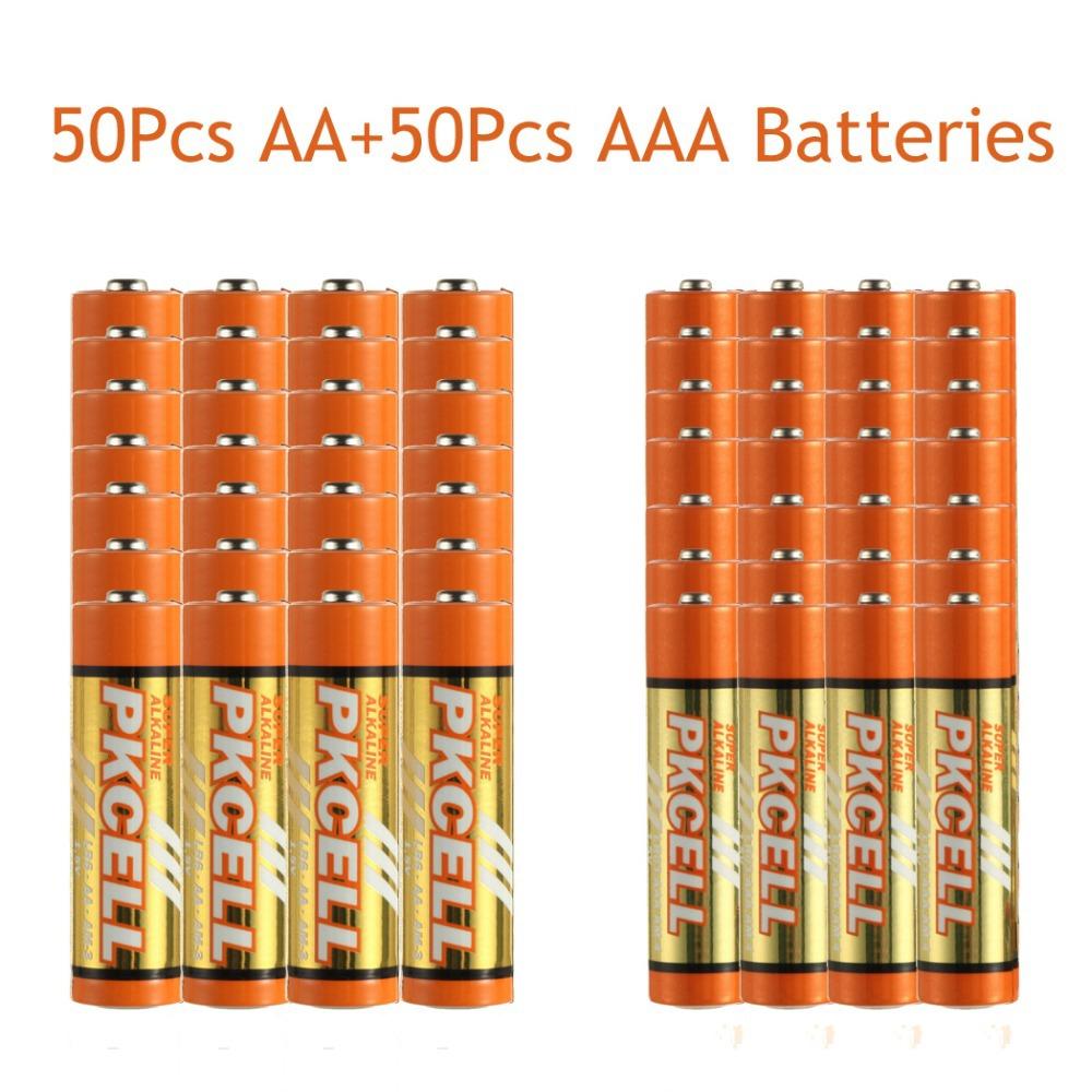 Сухая электрическая батарея PKCELL 50 1.5V LR6 AA + 50Pcs LR03 AAa 1,5 LR6/LR03