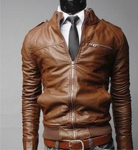 Free shipping 2015 New section Mens Fashion transverse short zip slim leather male stand collar leisure washed coat jacket Y2457(China (Mainland))