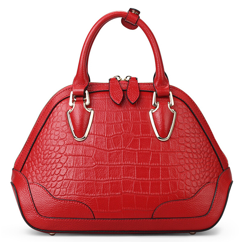 famous brands Genuine leather bag top quality women bags fashion handbags shoulder messgnger Red dark green shell bag 50ZD(China (Mainland))