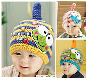 Free shipping Multicolour stripe cartoon frog baby cap hat children warm winter hat crochet beanie 7 colors