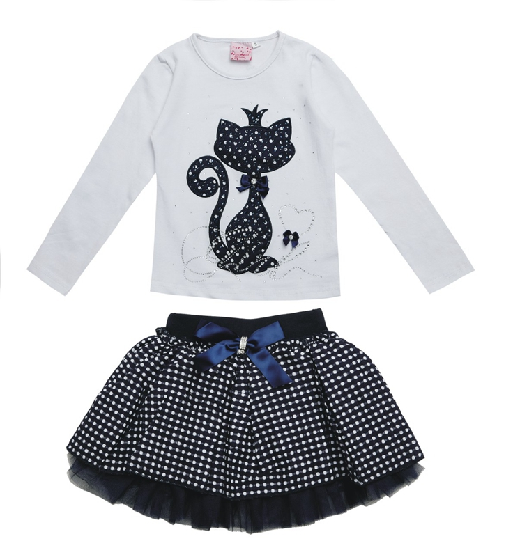 2015 New Fashion Newborn Boutique Outfits For Baby Girls Sets With 2 Pcs Cute Print Long Sleeve Tops +Bow Tutu Skirts Size 2-6Y <br><br>Aliexpress