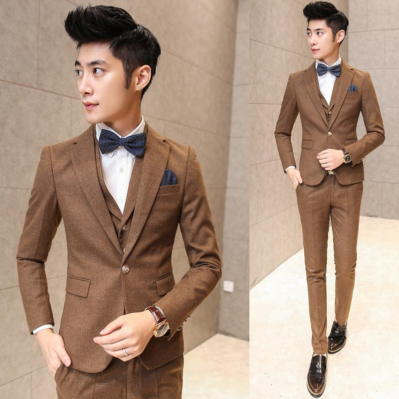 Mens 3 Piece Suits 2015 Autumn Winter Formal Wear For Men Solid One Button Wedding Suits Trajes Hombre Khaki Red Business Suit(China (Mainland))