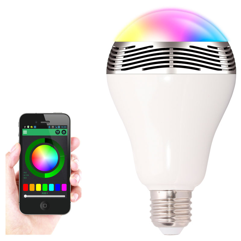 wireless 6w power bluetooth led speaker light bulb 4 0 smart lamp rgb. Black Bedroom Furniture Sets. Home Design Ideas