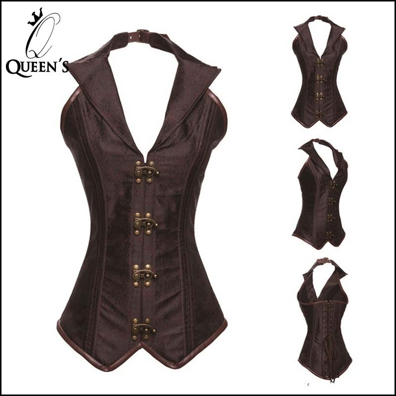 New Lapel Black Brown Metal Buckle Steampunk Sexy Vintage Corset Top Overbust Women Gothic Steel Boned Corsets Bustier Corselet(China (Mainland))