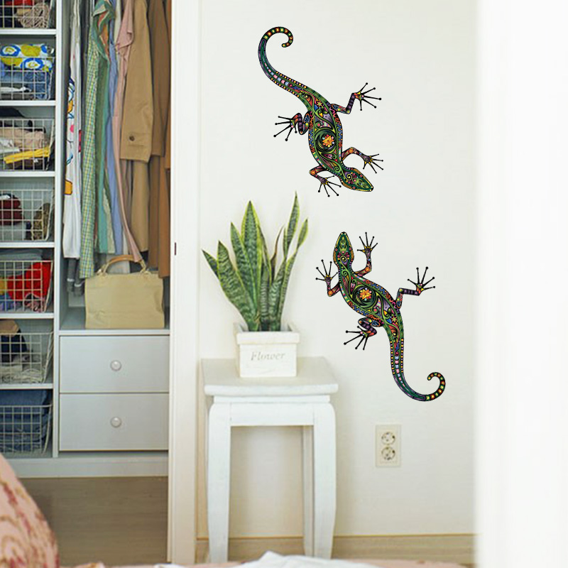 2 in 1 New Abstract Design Decorative Wall Decal Colorful Lizard Wall Sticker Removable Animal Tropical Wall Art for Kids Rooms(China (Mainland))