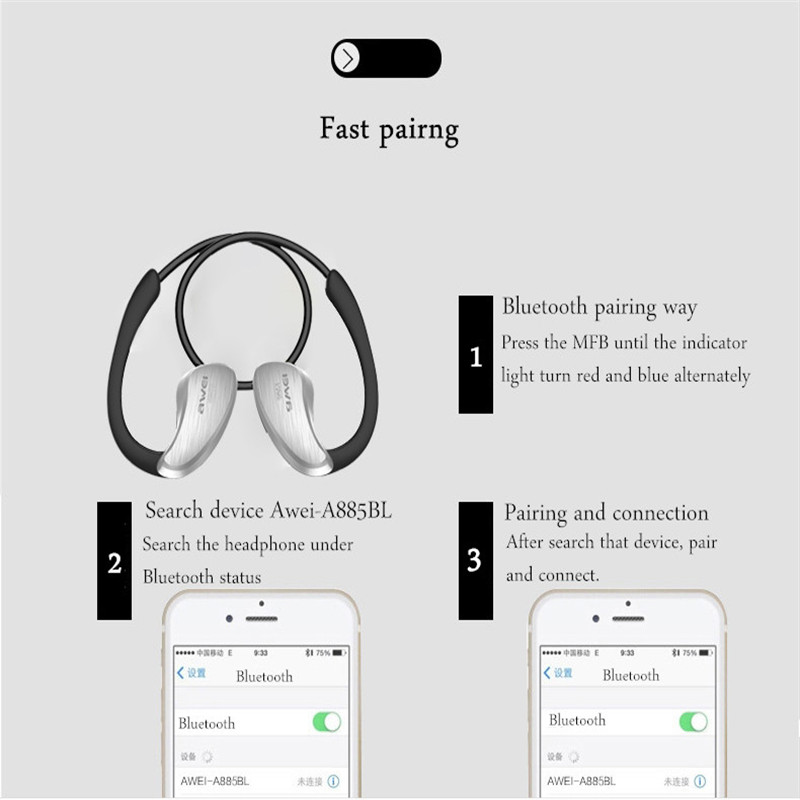 New Awei A885BL IPX4 Waterproof Bluetooth Headphone Sport Wireless Earphone NFC With Mic Stereo Earbuds In Ear For iPhone