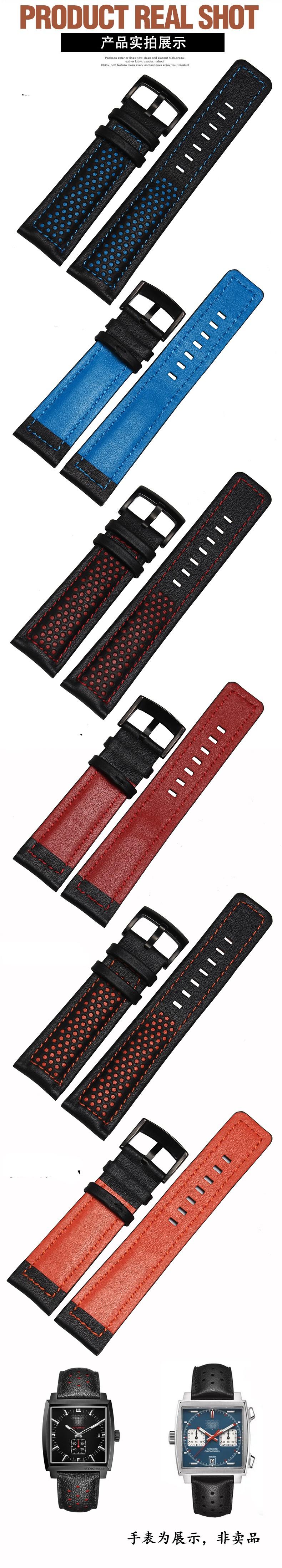 2016 Новый Оригинал Мода мужские Часы Кожаный Пояс Смотреть Band Черный Красный Кожаный Ремешок Аксессуары Смотреть Band