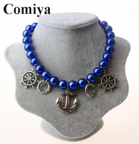 Blue bead long pearl best friends choker necklace perfume women jewelry necklaces indian music flowers cc vintage discount(China (Mainland))