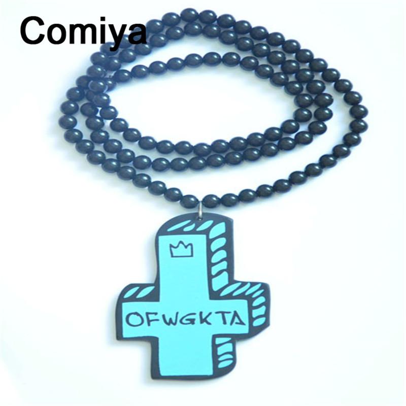 Big cross pendant long beads links chain kolye collare necklaces femme collier ras du cou punk feminina necklace gargantilha(China (Mainland))