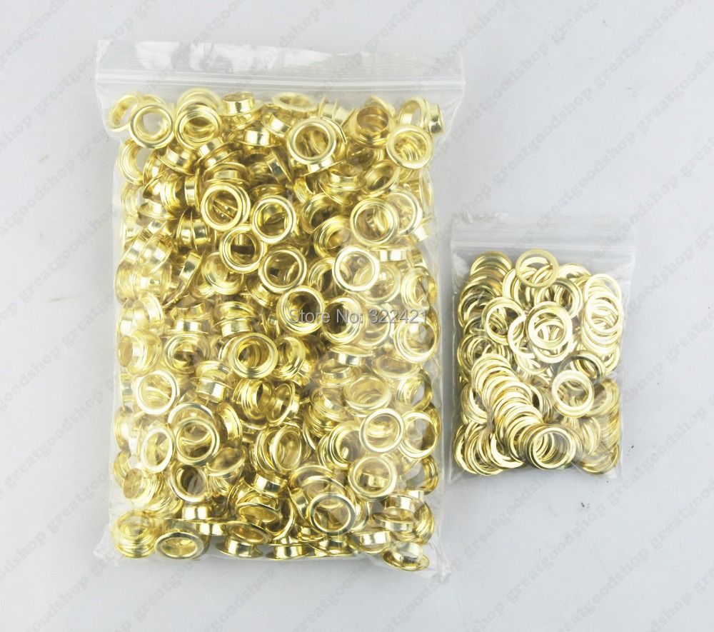 400pcs/lot Gold Painted Eyelets 15mm Outer Dia 10mm Inner Dia Beads metal grommets Garment Accessories(China (Mainland))