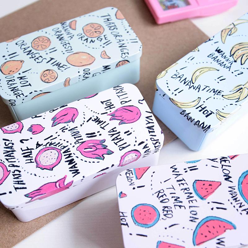 Kawaii fuits printed tin box,candy box,decoration storage box,best gift for children, free shipping(tt-3437)(China (Mainland))