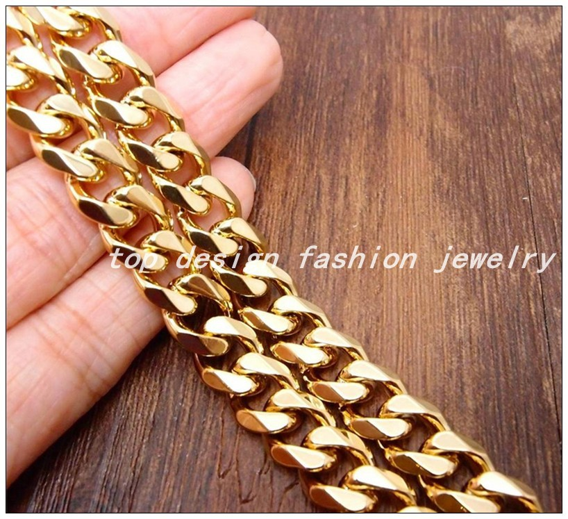 """18""""-36"""" 15mm Customized Size Heavy Cool Silver/Yellow Gold Plated 316L Stainless Steel Men's Cuban Chain Link Curb Necklaces(China (Mainland))"""