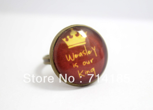 10pcs/lot Ron Weasley Weasley is Our King Harry Potter Ring in Antique Bronze Glass Cabochon Ring<br><br>Aliexpress