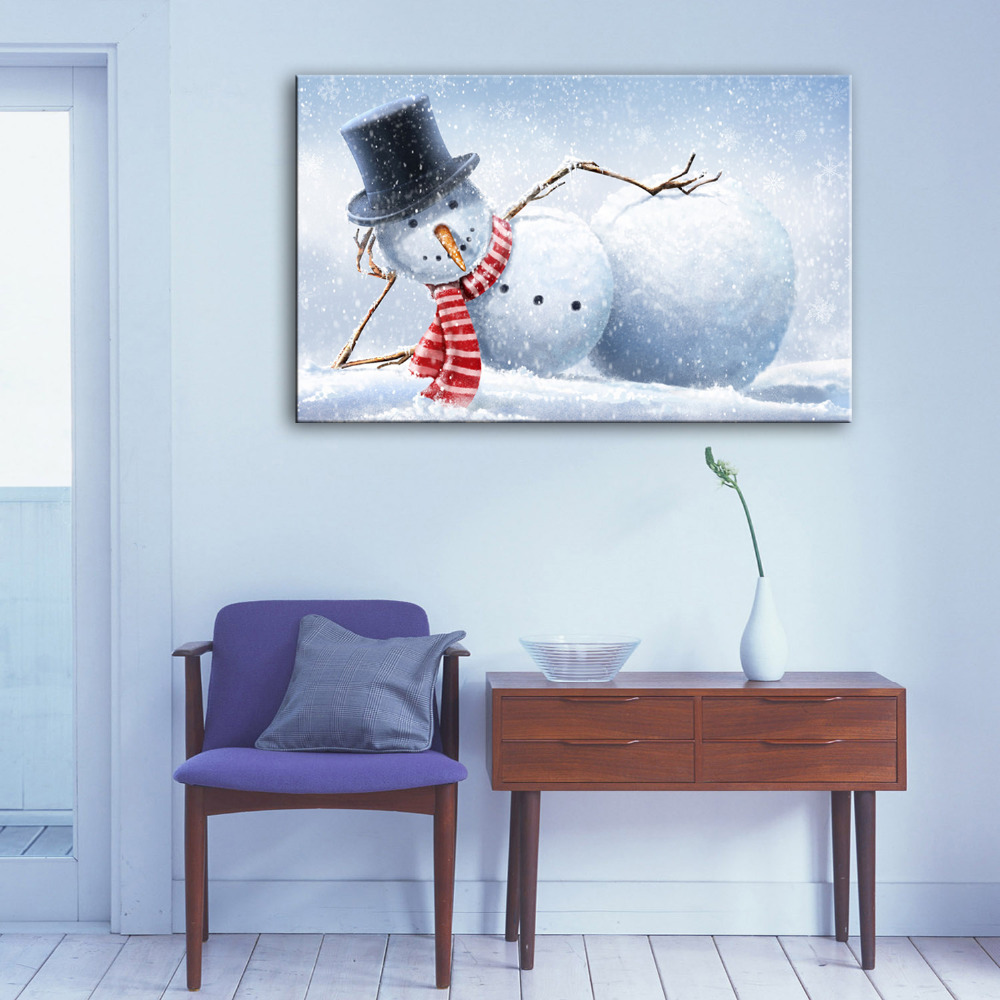 Ehome oil painting sleeping snowman decoration paiting home decor on canvas modern wall art - Canvas prints home decor photos ...
