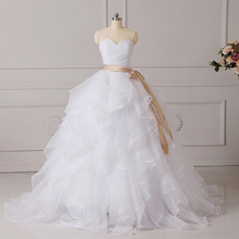Buy ADLN Ruffled Organza Corset Wedding Dresses Vestido De Noiva Sweetheart Sleeveless Ruched Bridal Gowns Floor length for $58.19 in AliExpress store