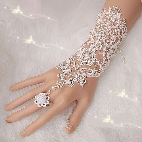 Free Shipping New Hot Sale Fashion White, Ivory Pearl Lace Wedding Bride Bridal Gloves,Ring Bracelet(China (Mainland))