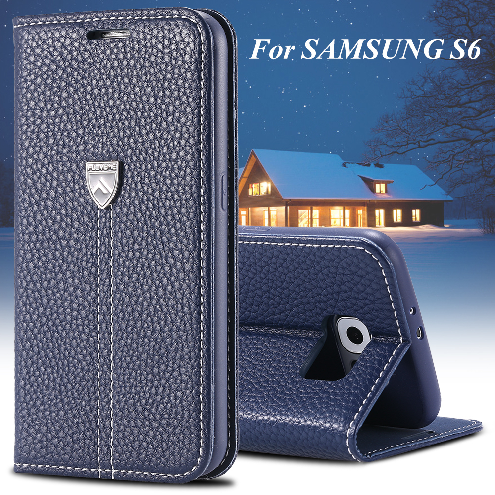S6 Luxury Original Floveme Brand Flip Leather Case For Samsung Galaxy S6 G9200 Phone Bag Cover With Stand Function Metal Logo(China (Mainland))