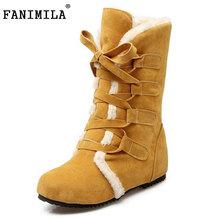 Tamaño 30-52 Rusia Mujeres Ronda Toe Aumento de la Altura Botas de Becerro Mediados de Mujer Correa Cruzada de Piel Caliente Invierno Medio zapatos Calzado(China (Mainland))