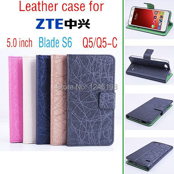 2015 Best Quality Blade S6 5 inch Case Magnetic Flip Stand Leather Cover For ZTE Blade S6 Q5 Q5C Phone Cases With Card Slots(China (Mainland))