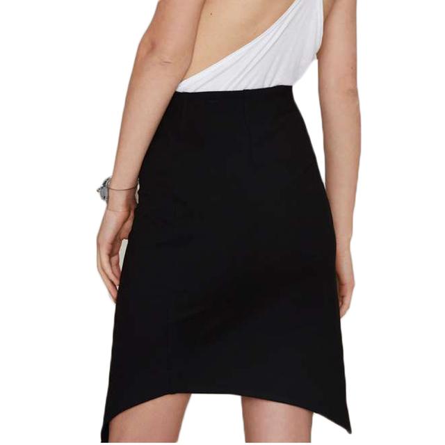 Women Sexy Black Irregular Split Mini Skirts with Zipper Lady Summer Slim Pencil Asymmetrical Fashion Jupe Clothing Saias Skirt