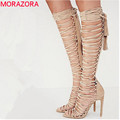 MORAZORA Plus size 34 43 new sexy knee high gladiator sandals high heels lace up suede