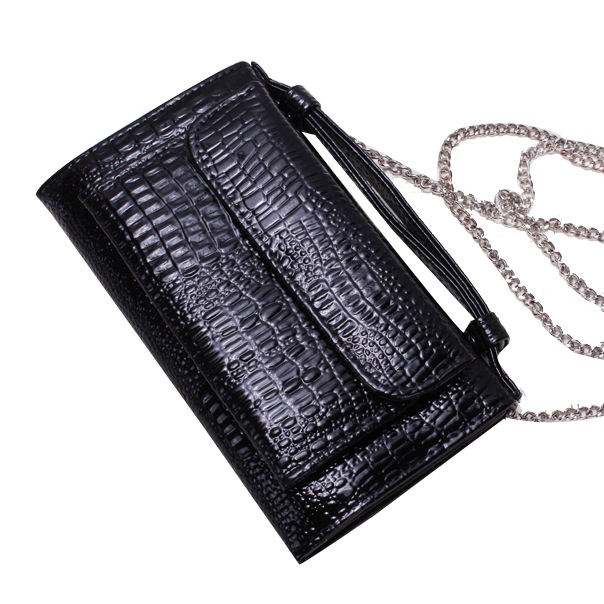 2016 Korea Luxury Fashion crocodile pattern Genuine Leather women handbag wallet with metal chain lady day clutch shoulder bag(China (Mainland))