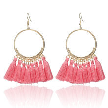 F21 Bohemian Handmade Statement Tassel Earrings for Women Vintage Round Long Drop Earrings Wedding Party Bridal Fringed Jewelry(China)