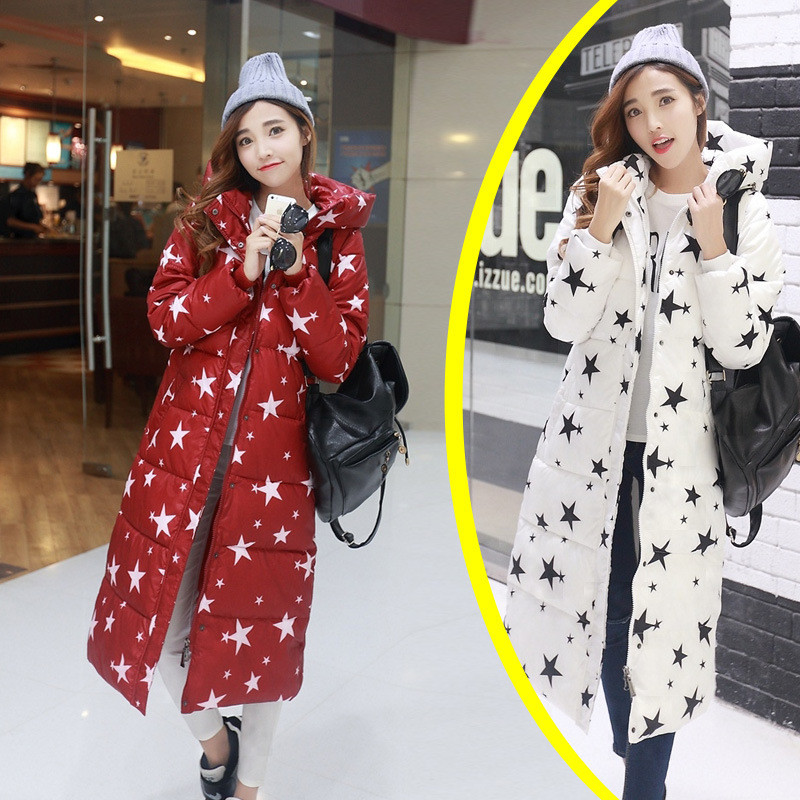 Hot Women winter jacket long coat star pattern Slim Down padded Zipper Warm Down & Parkas  Thick Winter Jacket Women Coat TT110