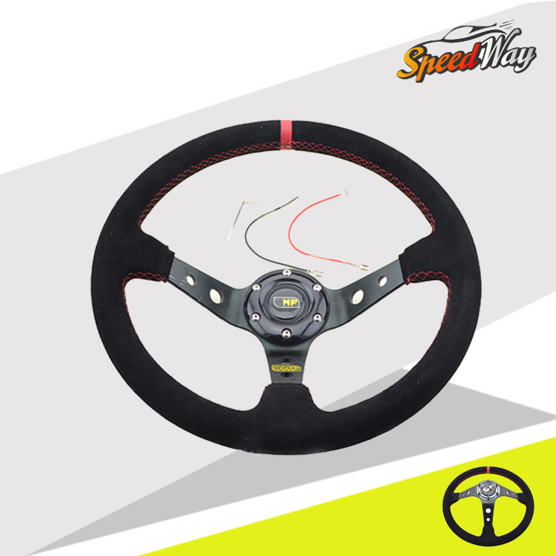 Steering wheel ID 14inch volante Deep Corn Drifting racing Steering Wheel Suede Leather PVC Car Styling Accessories(China (Mainland))