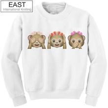 EAST KNITTING Fashion 2015 Autumn Winter Women Hoodies 3D Emoji Sweatshirt O-Neck Casual Print White Cute Monkey Hoodies(China (Mainland))