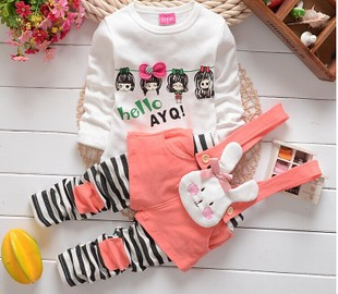 Retail Fashion 2014 Cartoon Kids Spring Clothes Girls Boys Children Clothing Set Baby Suits Kids Long Sleeve T Shirt + Overalls(China (Mainland))