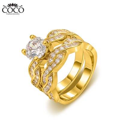 Wedding Band Rings Yellow Gold Plated Cubic Zirconia Engagement Ring For Wome